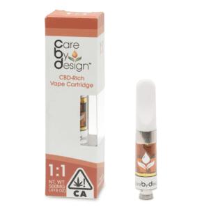 Care By Design 1:1 CBD:THC vape cartridge.