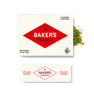 Baker's Cannabis Co. half ounce pack of pre-ground flower and rolling papers