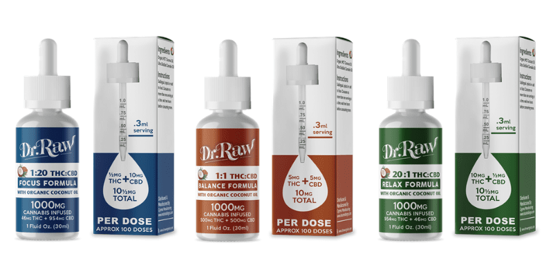 Dr. Raw Organics 1000mg tinctures in Focus, Balance, and Relax formulas