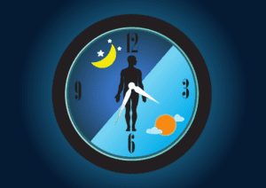 Illustrated clock with half nighttime, half daytime