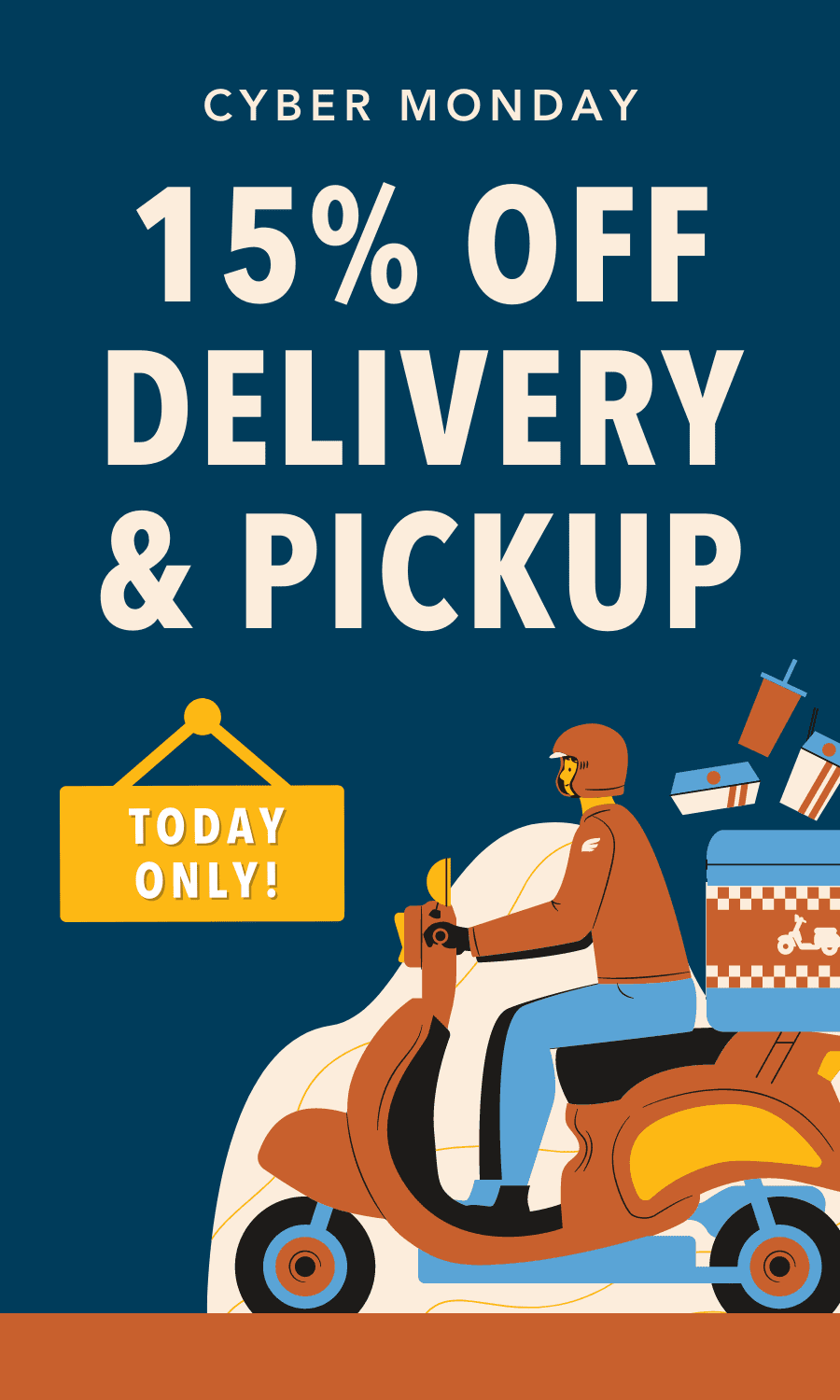 Take 15% off delivery & curbside pickup today only.