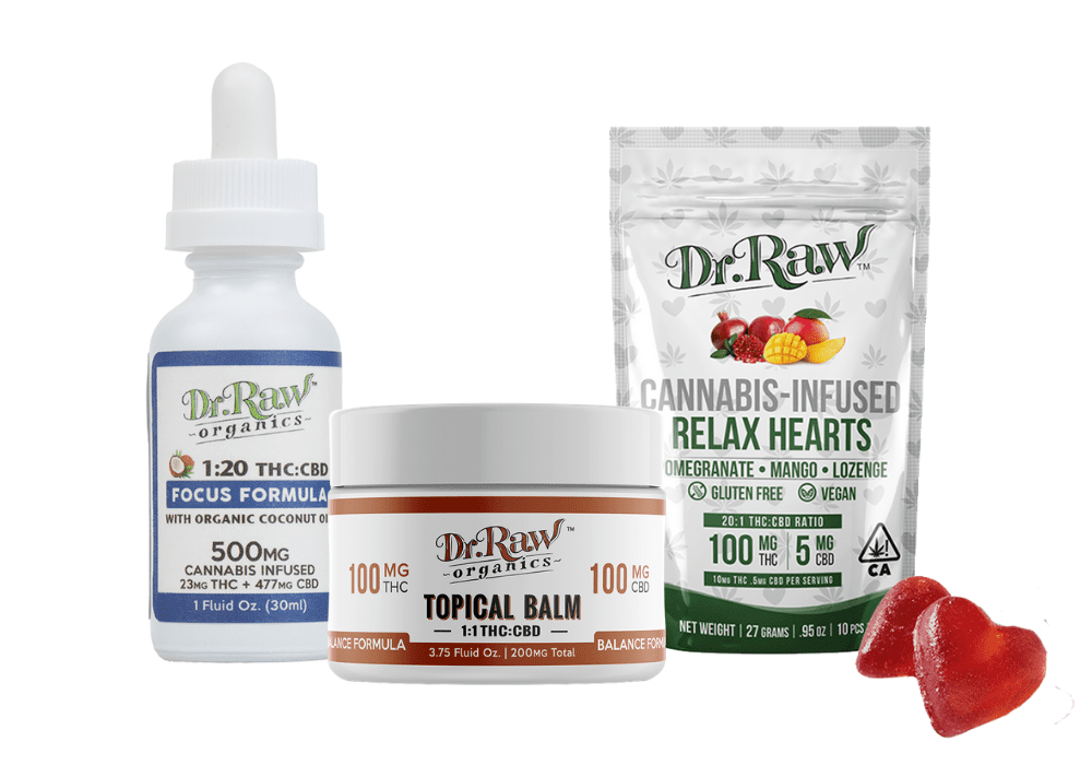Dr. Raw Organics Focus tincutre, Balance Balm, and Relax Candy Hearts