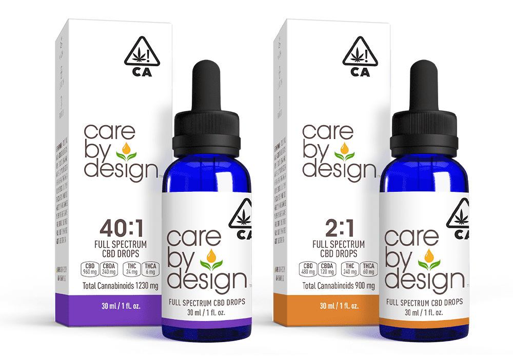 Care By Design tinctures in 40:1 and 2:1 CBD:THC ratios