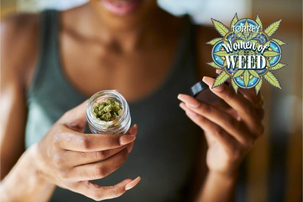 Woman opening jar of cannabis