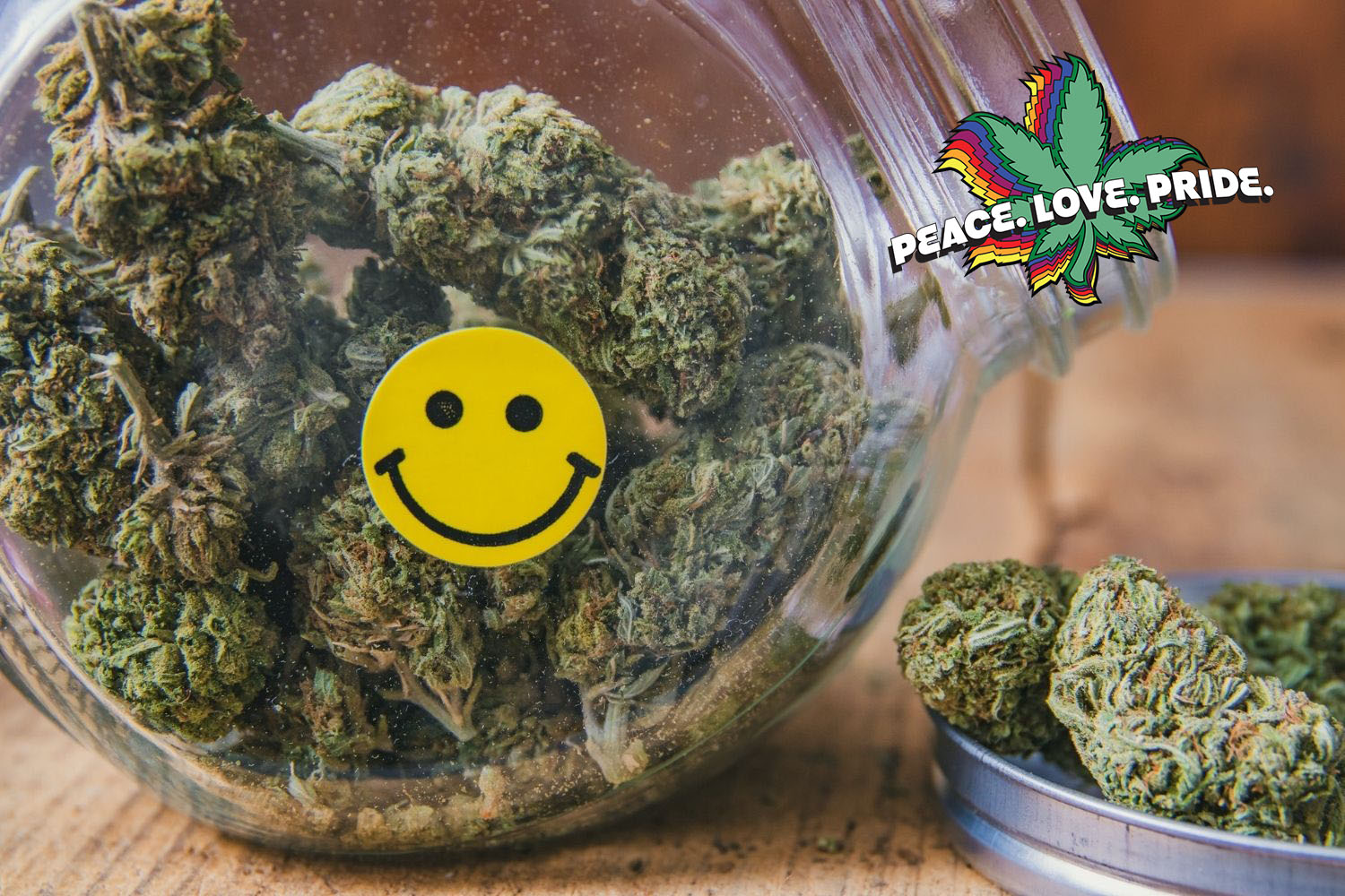 Jar of cannabis with happy face sticker