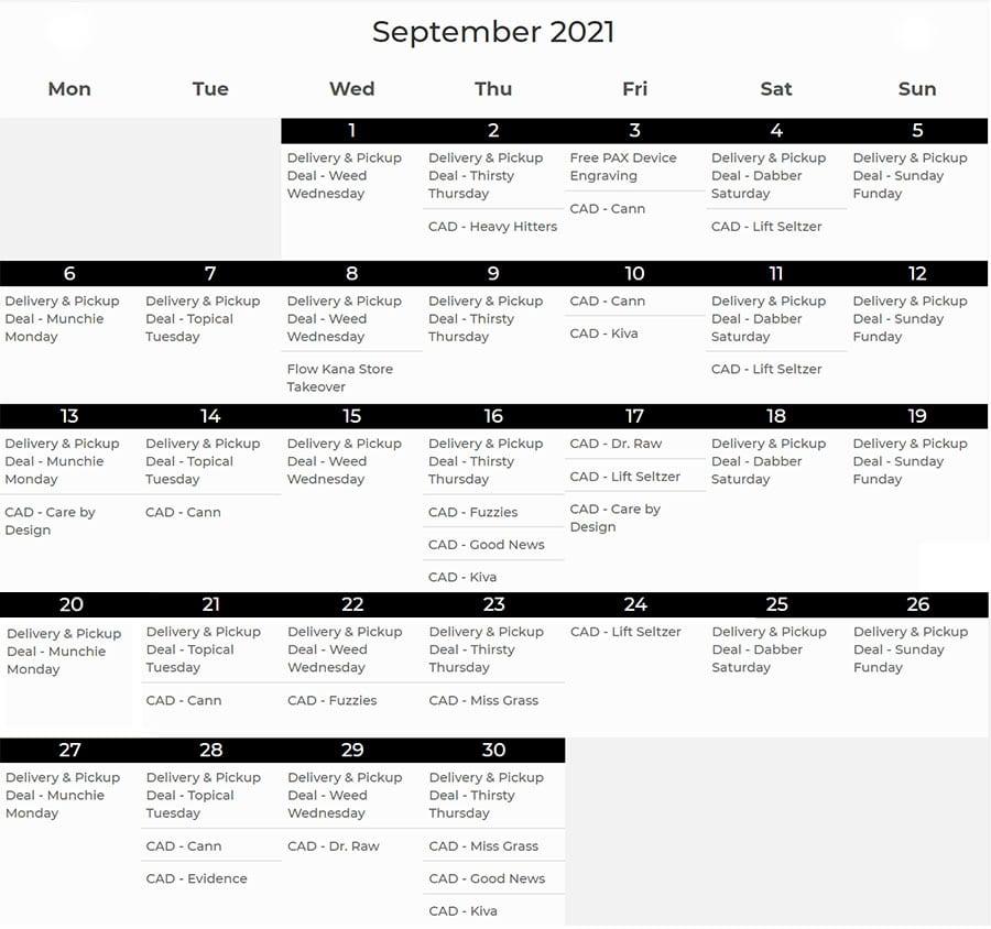 September 2021 cannabis calendar of events